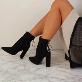 Chunky Heel Back Zip Sexy Women