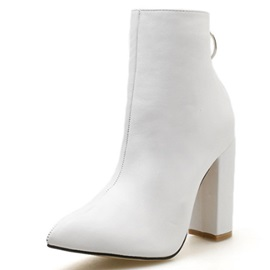 Chunky Heel Back Zip Sexy Women's Ankle Boots
