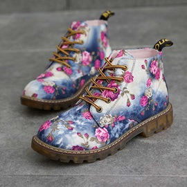 Floral Color Block Lace-Up Front Ankle Boots
