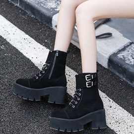 Side  Chunky Heel Plain Cross Strap Ankle Boots