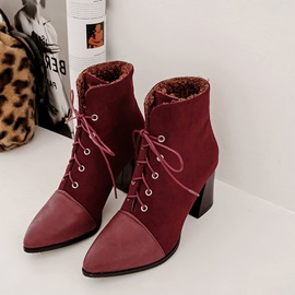 Chunky Heel Patchwork Lace-Up Front Ankle Boots