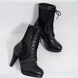 Lace-Up Chunky Heel Round Toe Hollow Lace Ankle Boots