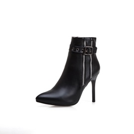Plain Side  Stiletto Heel Casual Ankle Boots