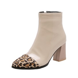 Chunky Heel Leopard Pointed Toe Short Floss Ankle Boots