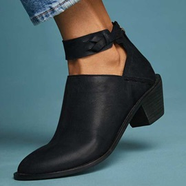 Back Zip Plain Pointed Toe Vintage Ankle Boots