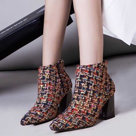 Pointed Toe Side Zipper Plaid Ladylike Ankle Boots