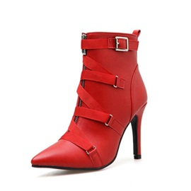 Plain Side Zipper Pointed Toe Casual Ankle Boots