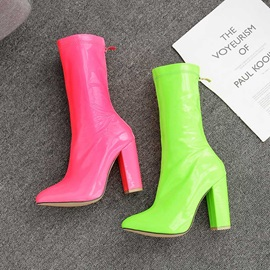 Neon Back Zip Chunky Heel Pointed Toe Women's Ankle Boots