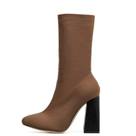 Side Zipper Chunky Heel Vintage Ankle Boots