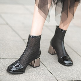 Back Zip Round Toe Plain Casual Ankle Boots