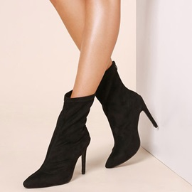 Stiletto Heel Pointed Toe Cotton Ankle Boots