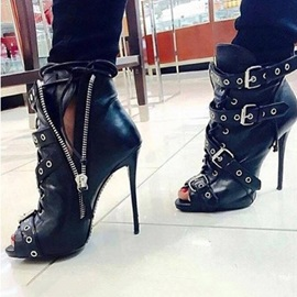 Customized Side Zipper Stiletto Heel Peep Toe Ankle Boots