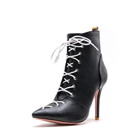 Lace-Up Front Stiletto Heel Plain Thread Ankle Boots