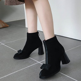 Bow Round Toe Patchwork Back Zip Ankle Boots