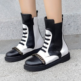 Round Toe Color Block Side  Chain Ankle Boots