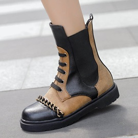 Round Toe Color Block Side Zipper Chain Ankle Boots
