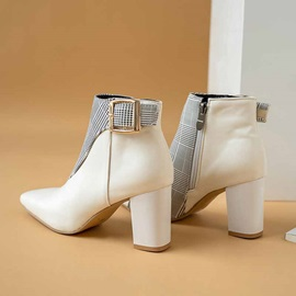 Color Block Chunky Heel Pointed Toe Zipper Boots