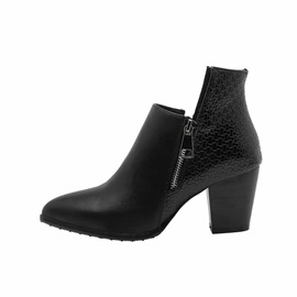 Pointed Toe Side Zipper Plain Casual Ankle Boots