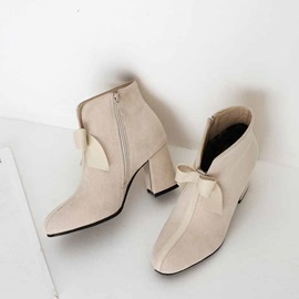 Side Zipper Plain Round Toe Sweet Ankle Boots