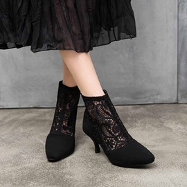 Stiletto Heel Back Zip Pointed Toe Hollow Ankle Boots