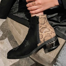 Side Zipper Star Round Toe Serpentine Ankle Boots