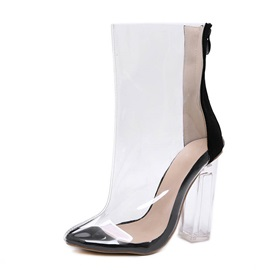 Chunky Heel Back Zip Color Block See Through Boots