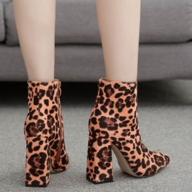 Leopard Pointed Toe Side Zipper Chunky Heel Ankle Boots