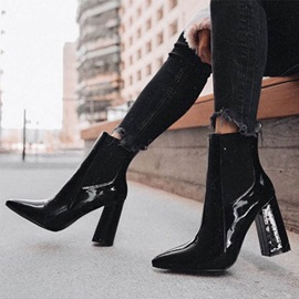 Back Zip Pointed Toe Chunky Heel Ankle Boots