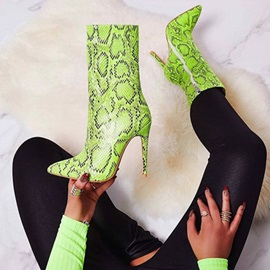 Neon Pointed Toe Color Block Side Zipper Ankle Boots