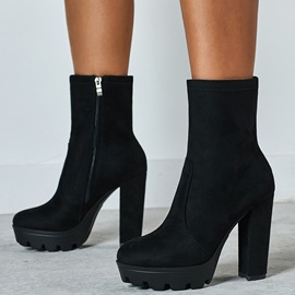 Round Toe Side Zipper Chunky Heel Vintage Boots