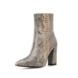 Chunky Heel Pointed Toe Side Zipper Chic Ankle Boots