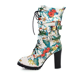 Chunky Heel Floral Round Toe Zipper Mid Calf Boots
