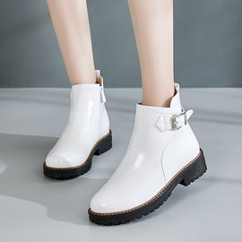 Side Zipper Round Toe Plain Martin Boots