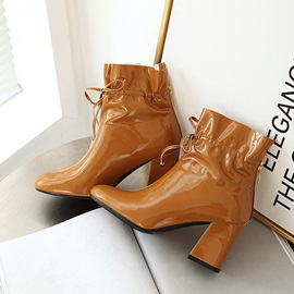 Chunky Heel Pointed Toe Plain Ankle Boots