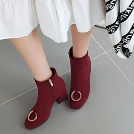 Side Zipper Chunky Heel Round Toe Casual Ankle Boots