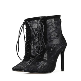 Pointed Toe Lace Back Zip Mesh Sexy Ankle Boots