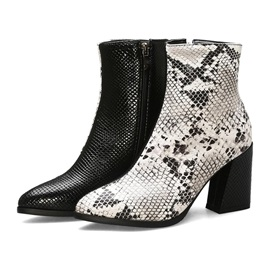 Square Toe Side Zipper Chunky Heel Patchwork Ankle Boots