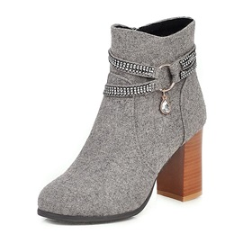 Chunky Heel Side Zipper Pointed Toe Vintage Ankle Boots