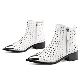 Customized Side Zipper Patchwork Pointed Toe Rivet Boots