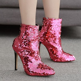 Back Zip Pointed Toe Stiletto Heel Squin Ankle Boots