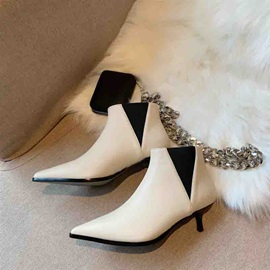Slip-On Pointed Toe Kitten Heel Ankle Boots