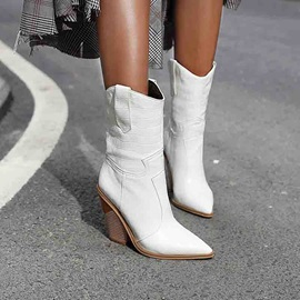 Slip-On Chunky Heel Pointed Toe Ankle Boots