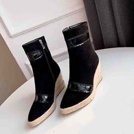 Round Toe Wedge Heel Side Zipper Ankle Boots