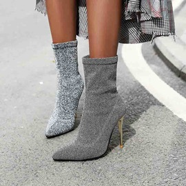 Slip-On Pointed Toe Glitter Ankle Boots