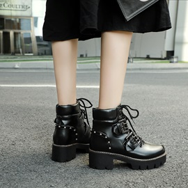 Lace-Up Front Leopard Round Toe Buckle Martin Boots