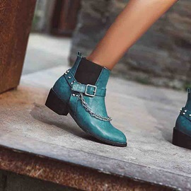 Slip-On Round Toe Color Block Vintage Ankle Boots