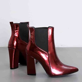 Metallic Side Zipper Pointed Toe Casual Ankle Boots