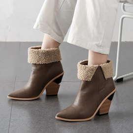 Color Block Slip-On Pointed Toe Western Ankle Boots