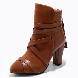 Color Block Round Toe Chunky Heel Vintage Ankle Boots