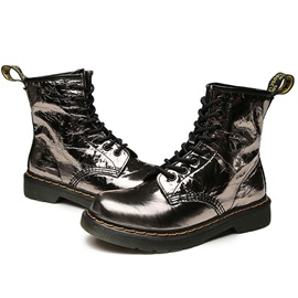 Metallic Lace-Up Front Round Toe Martin Boots